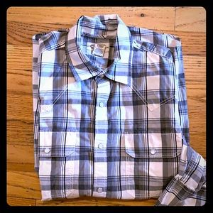 American rag plaid shirt black gray and white